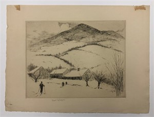 Image of [Skiers Near a Mountain Background]