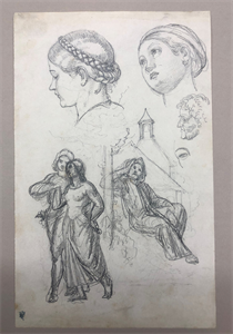 Image of Studies of Figures and Two Female Heads